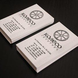 Печать визиток на льне