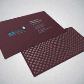 Печать визиток на бумаге Тач Кавер с уф лаком и тиснением