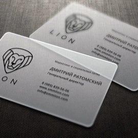 Печать прозрачных пластиковых визиток