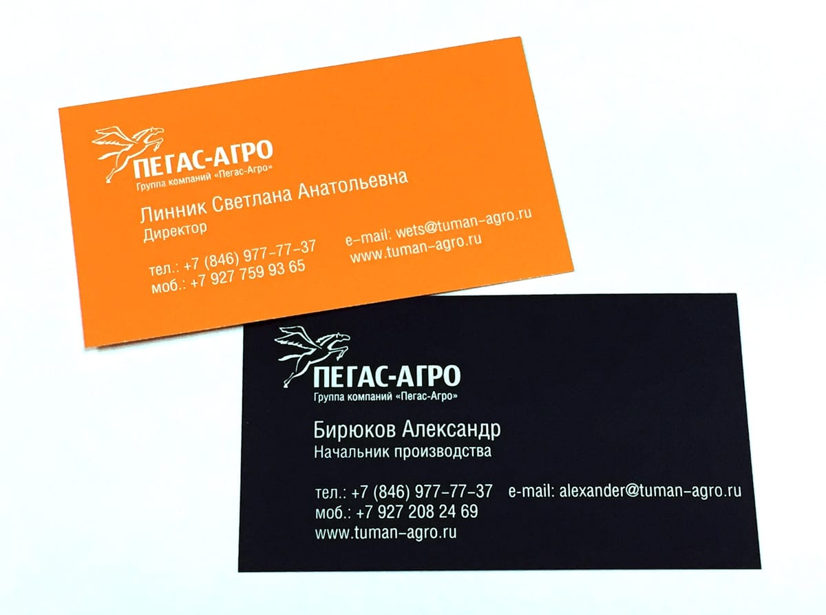 Сдержанные по дизайну представительные визитки, напечатаны шелкографией, белилами