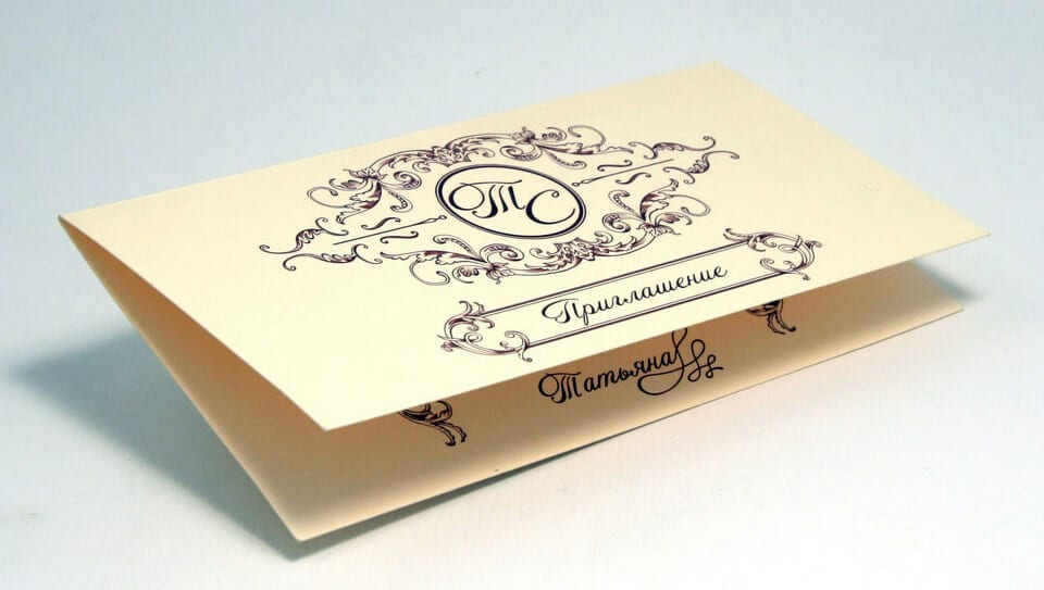 Печать пригласительных в один цвет на дизайнерской бумаге