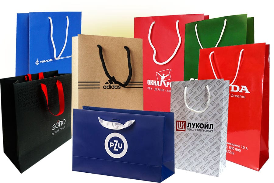Изготовление и печать бумажных пакетов различных размеров, форм и цвета