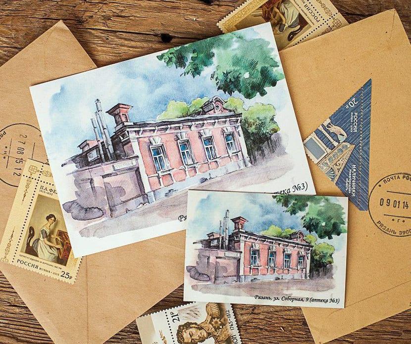 Дизайн почтовой открытки с конвертами