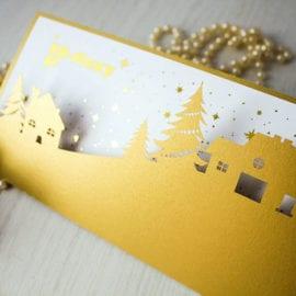 Печать фирменных открыток новогодних открыток на дизайнерской бумаге с вырубкой