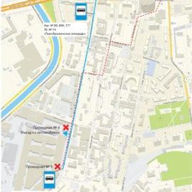 Схема проезда от станции метро «Преображенская площадь»